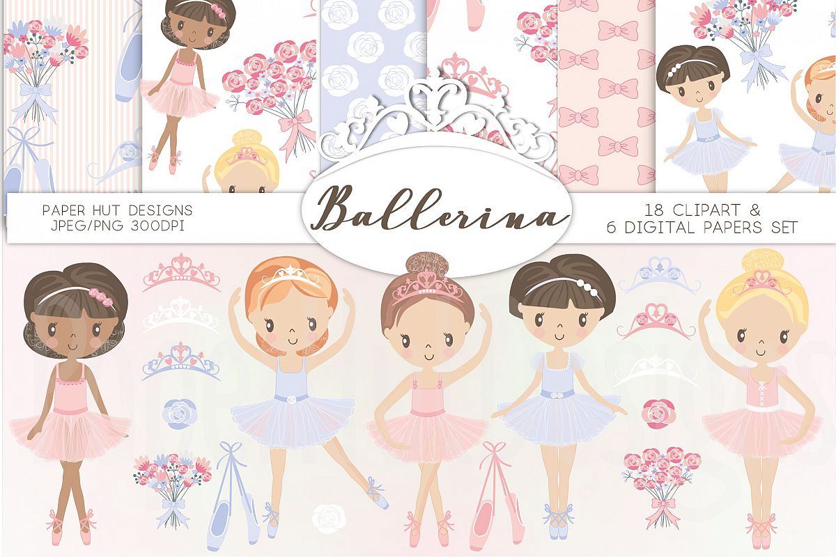Ballerina Clipart and Digital Papers Set.