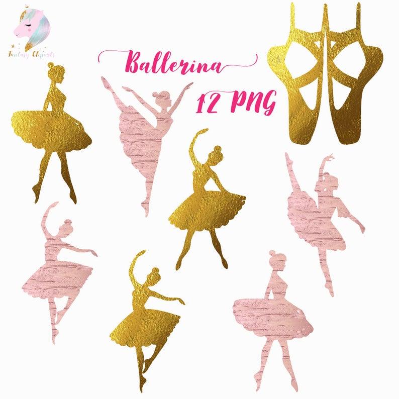 Ballerina silhouette, ballerina clipart, ballet clip art, gold foil  graphics, rose gold ballerina, silhouettes clipart, dancing girl, birthd.