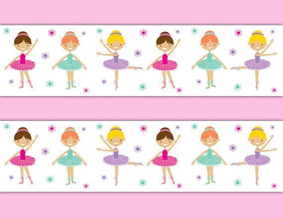 Dancing Ballerina wallpaper border wall decals for baby girl.