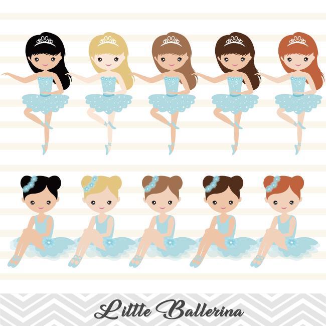 Blue Ballerina Digital Clip Art, Blue Ballet Dancer Clipart, Blue Ballet  Girl Clipart, 00181.
