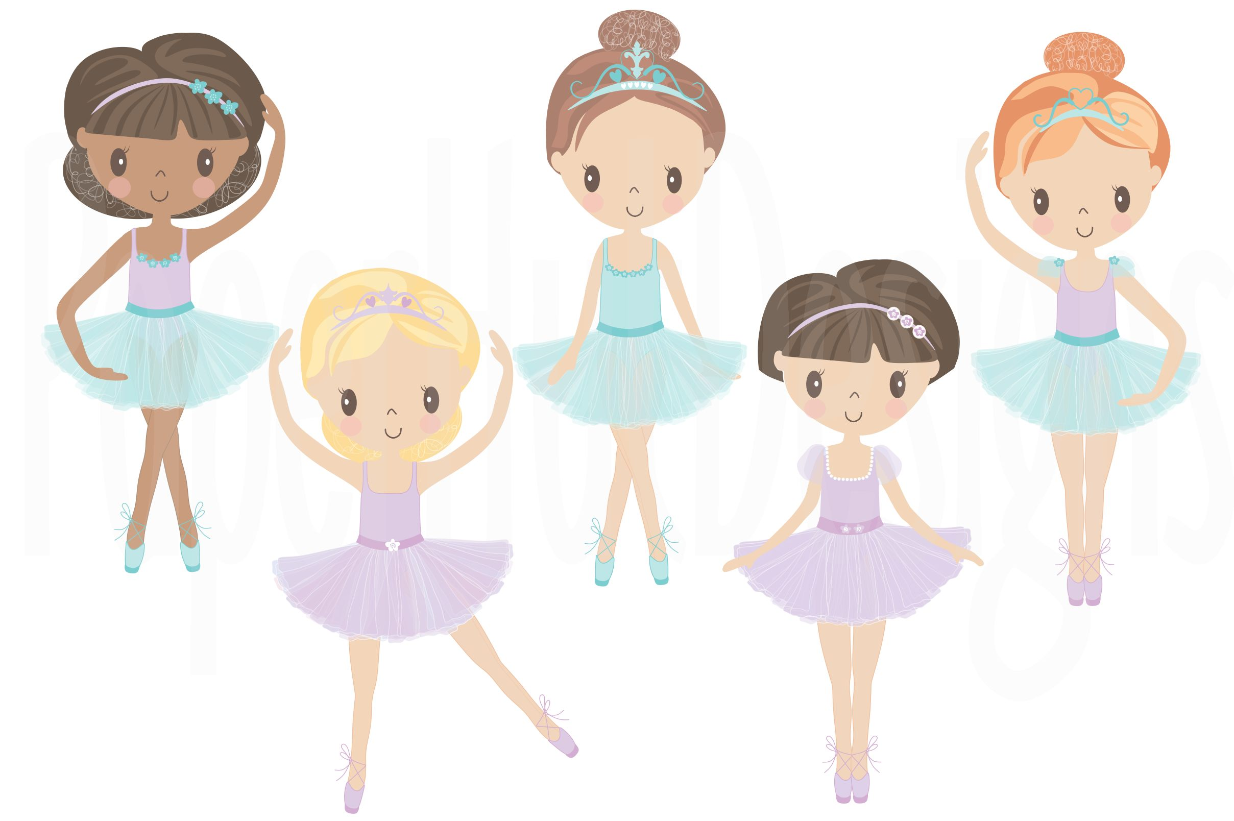 Ballerina Clipart and Digital Papers Pack.
