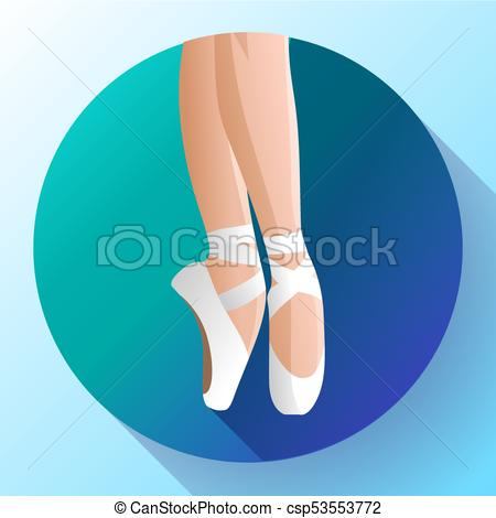 White ballet pointe shoes flat Vector illustration of gym ballet shoes  standing on tiptoes.