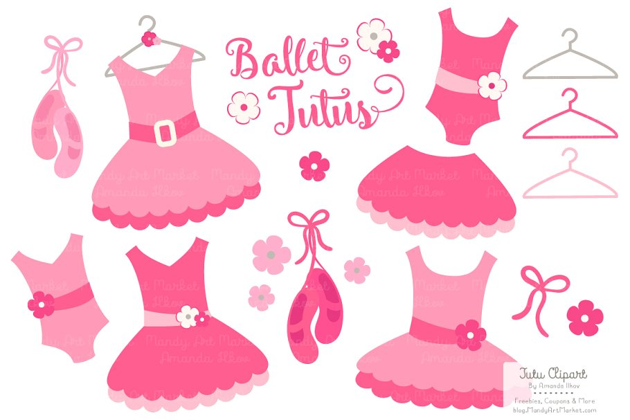 Hot Pink Ballet Tutus Clipart.