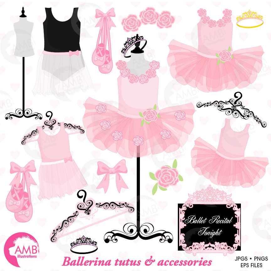 Ballerina clipart, Ballet clipart, ballerina tutus, Pink Ballet Costumes,  for invites and scrapbooking, commercial use, AMB.