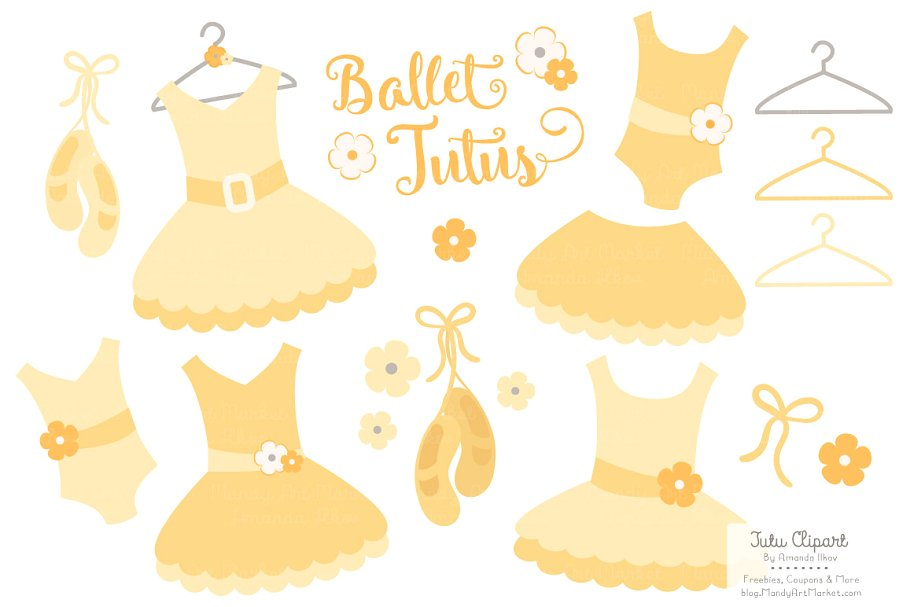 Sunshine Ballet Tutus Clipart.
