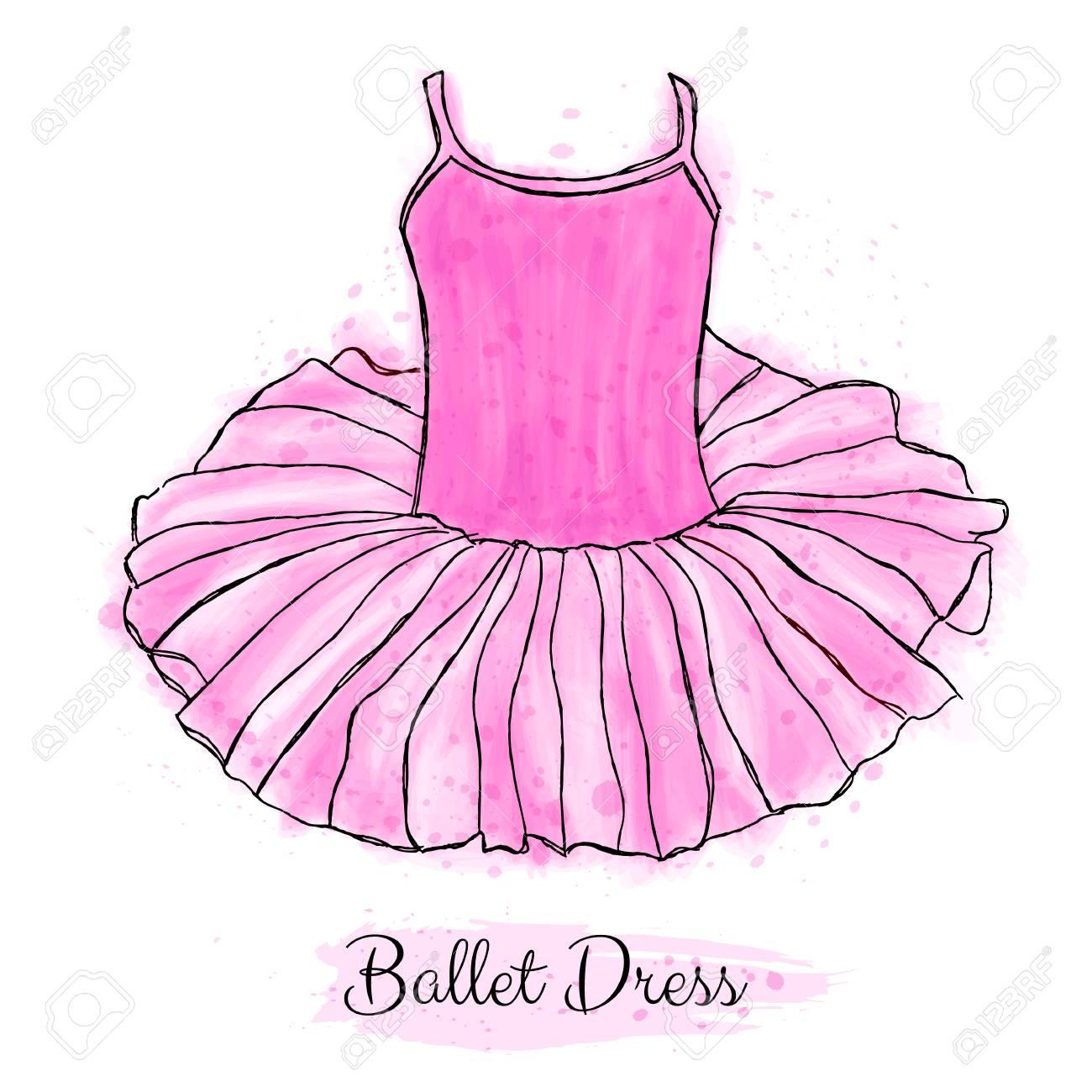 Pink ballerina tutu dress. Classic performance ballet dance dress.