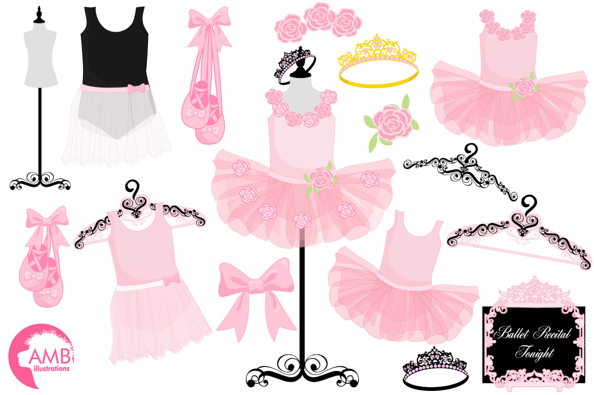 Ballerina Tutus clipart, graphics and illustrations AMB.