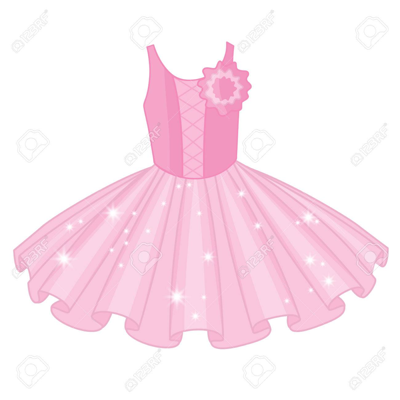 Vector soft pink tutu dress. Vector ballerina's tutu dresses.