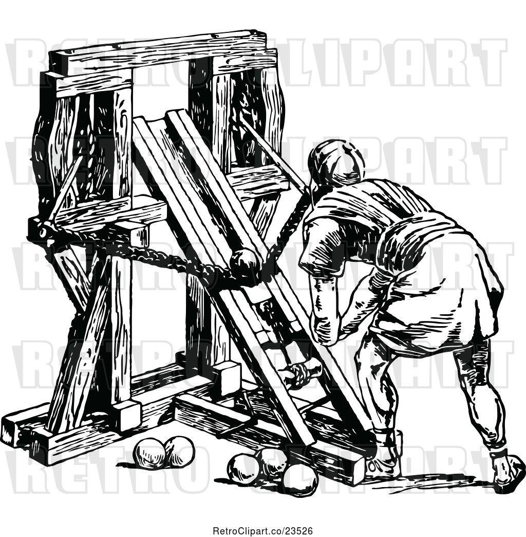 Vector Clip Art of Roman Soldier Loading a Ballista by.