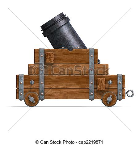 Clipart of ballistic mortar cannon. 3D render and shadow over.