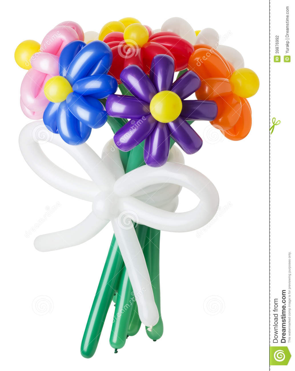 Bouquet With Colorful Balloon Flowers On White Background Stock.