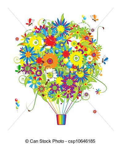 Vector of Floral gift, air balloon with flowers for your design.