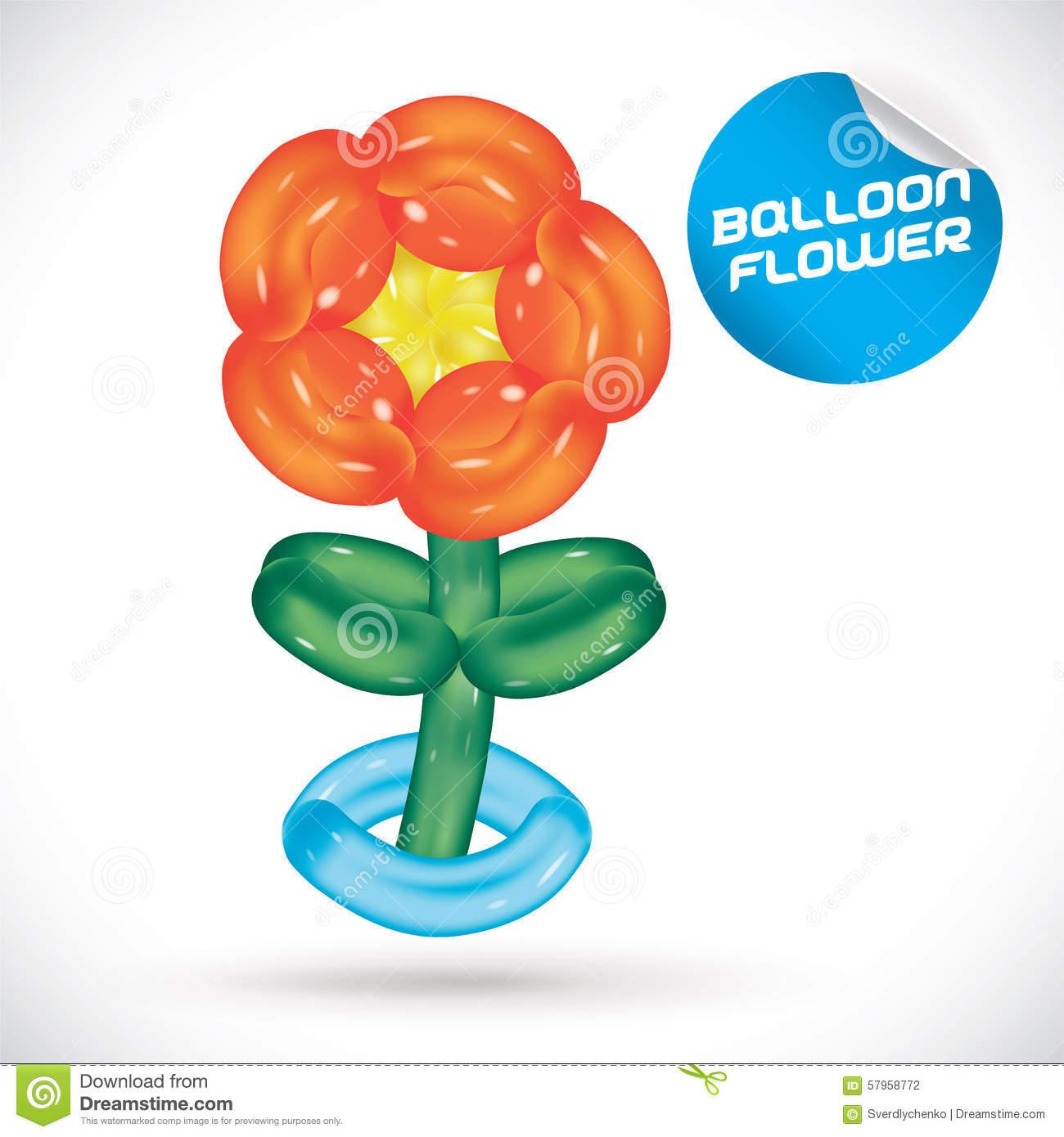 Balloon Flower Illustration Stock Vector.