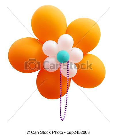 Stock Photos of Orange Balloon Flower with Beads isolated.