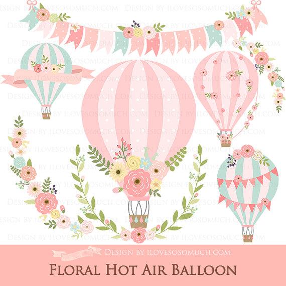 Floral Hot Air Balloon / Hot Air Balloon / Flower Clip Art.