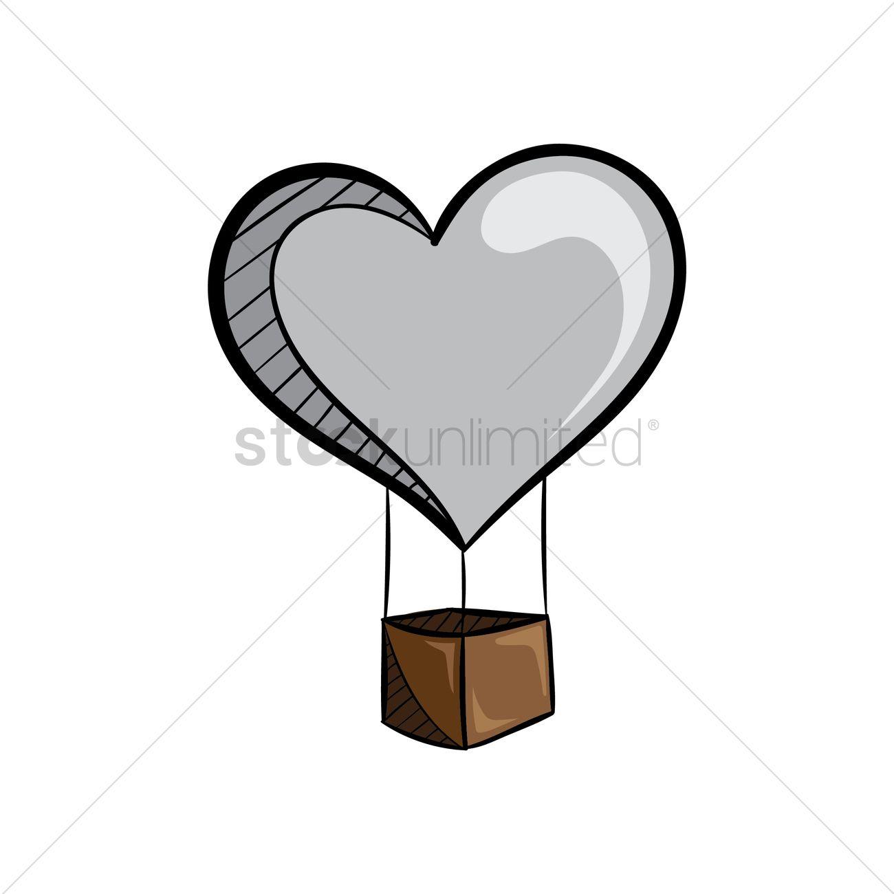 Free Heart shaped hot air balloon Vector Image.