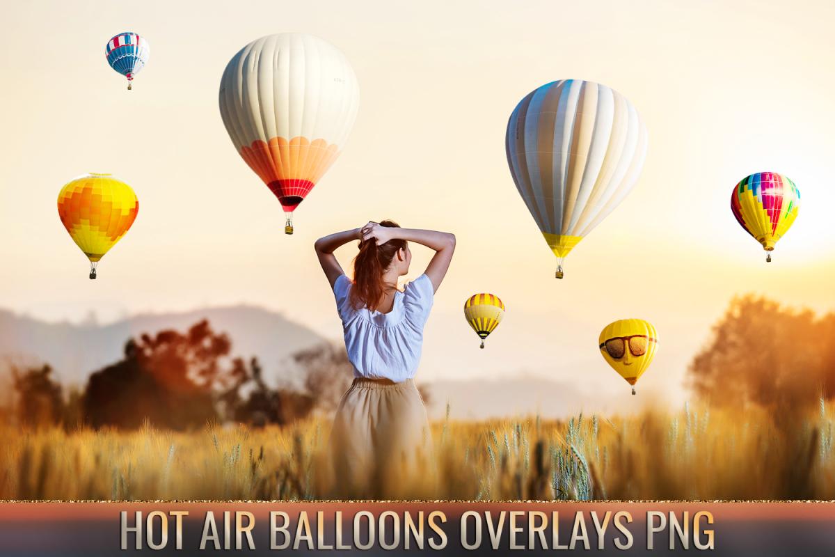 36 Hot air balloon Photo Overlays, aerostat png photoshop.