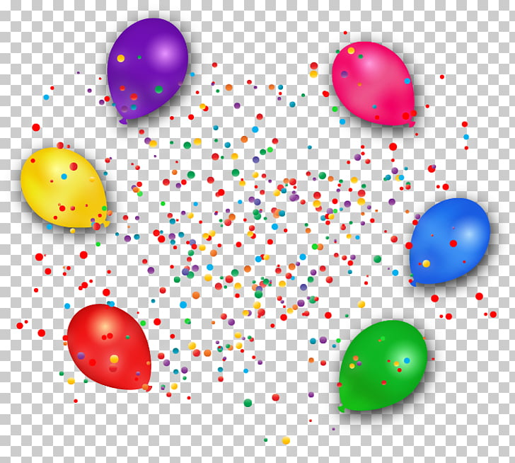 Paper Balloon Confetti , Colored balloons and confetti PNG.