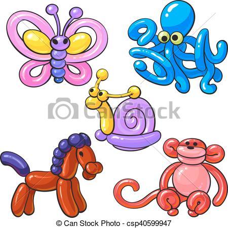 Set of balloon animals.