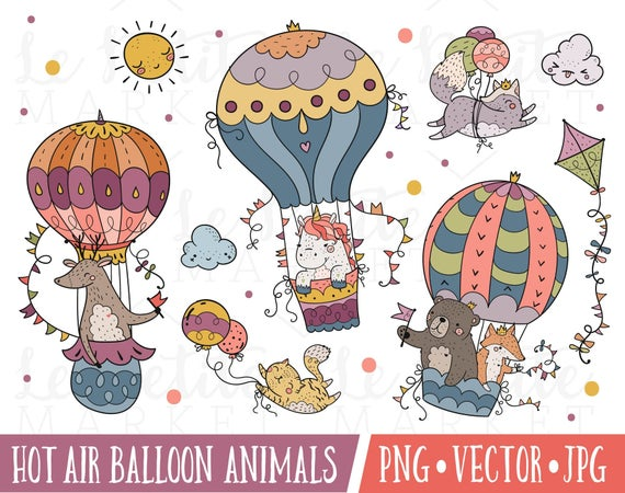 Hot Air Balloon Illustration Set, Hot Air Balloon Animals Clipart Images,  Baby Animals in Hot Air Balloons, Woodland Nursery Animals Clipart.
