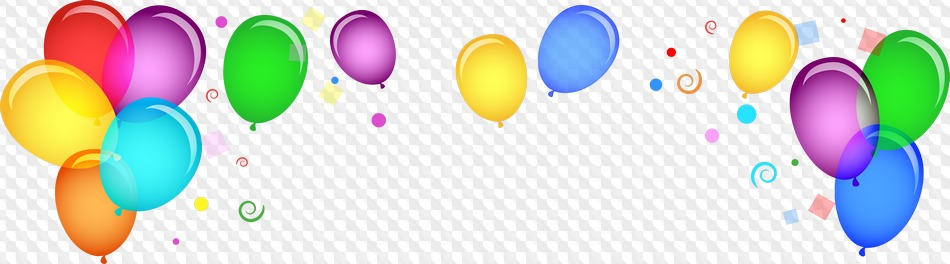 Updated: PNG Balloons with serpentine on transparent background.