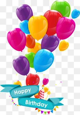 Birthday, Balloon, Colored, Gold Balloon PNG and Vector with.