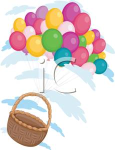 Basket Floating with a Colorful Balloon Bouquet.