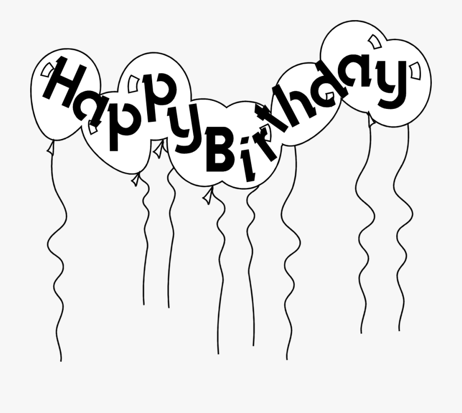 Happy Birthday Balloons Black And White Clipart Free.