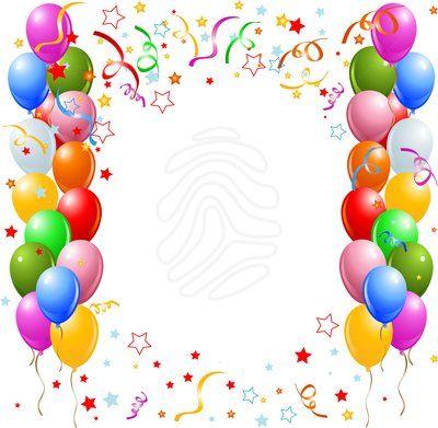 Birthday Balloon Border Clipart.