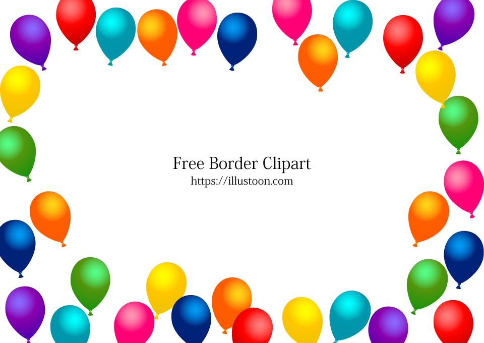 Free Many Balloons Border Image Illustoon.