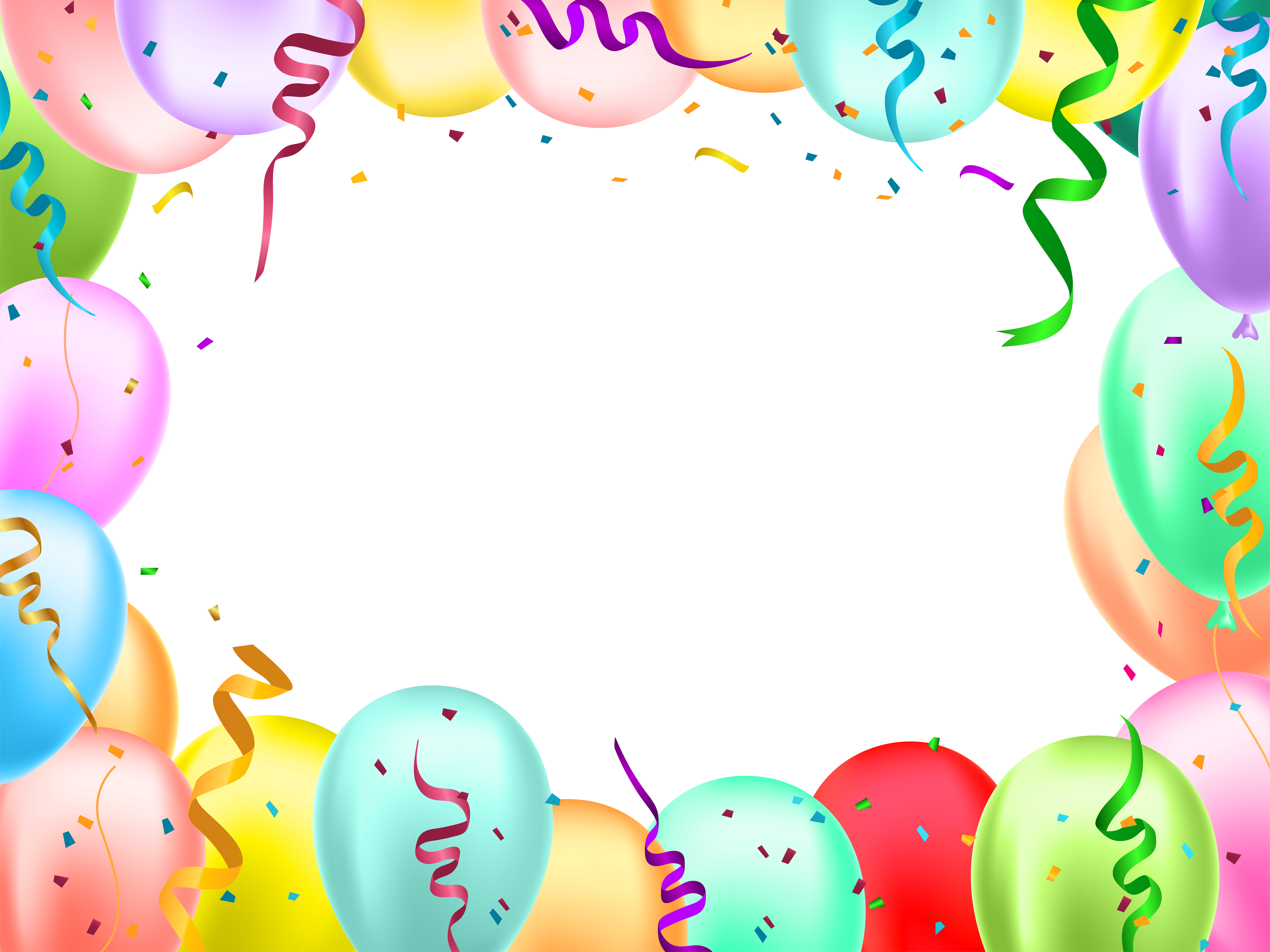Birthday Border with Balloons Transparent Image.