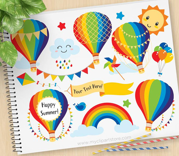 Over the Rainbow, Hot Air Balloons Clipart, bunting, Primary.