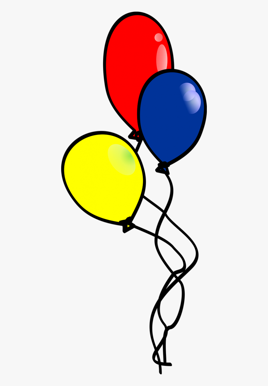 Balloons 3 Primary Colors Balloons With Highlight Bubbles.