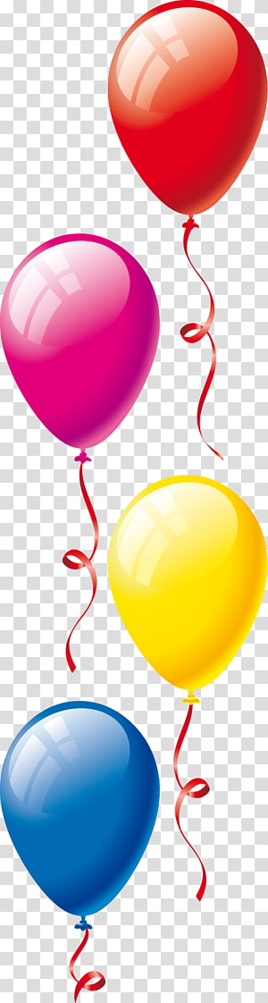 Child Balloon , Kids and balloons, four children jumping.