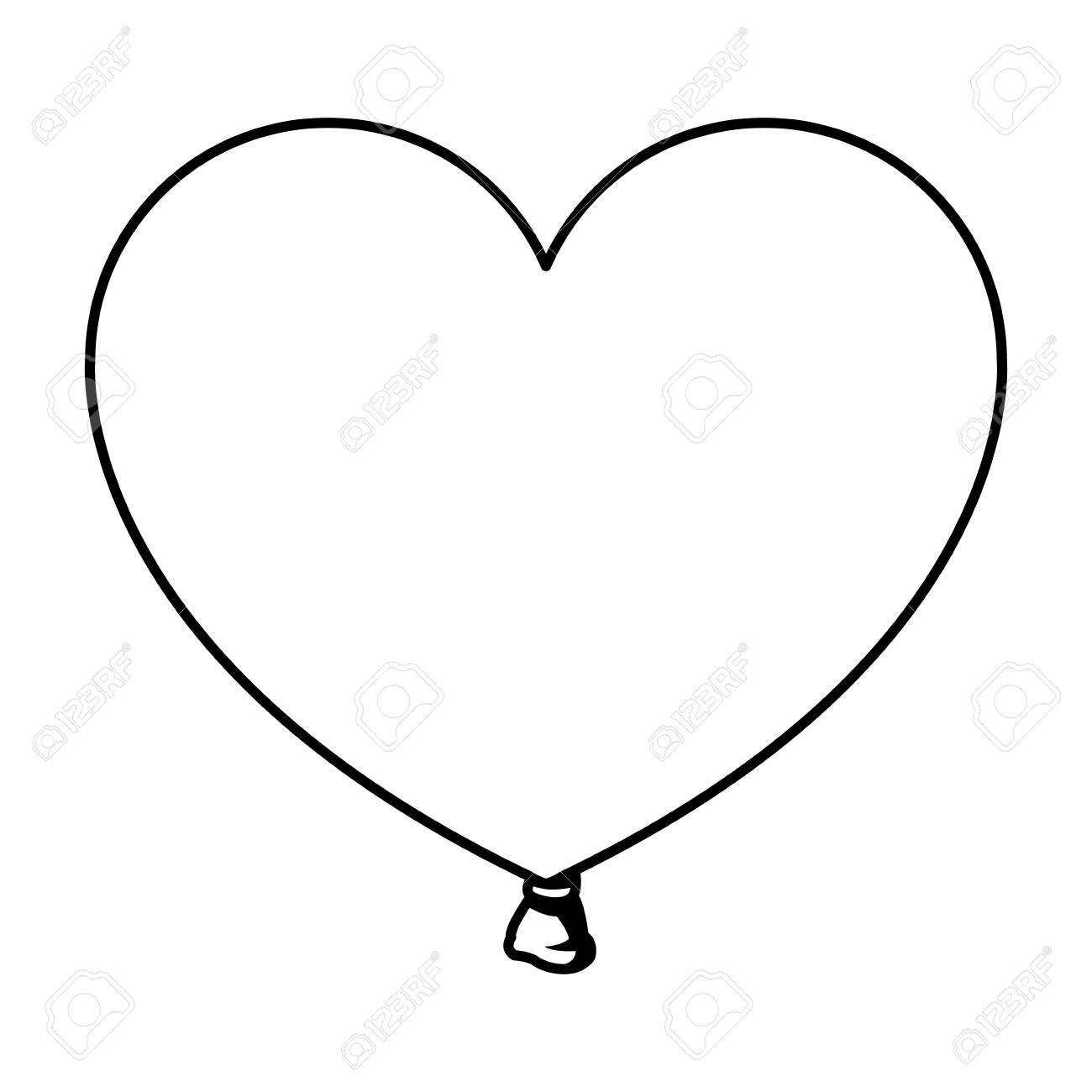 Heart shaped balloon in black and white vector illustration graphic...