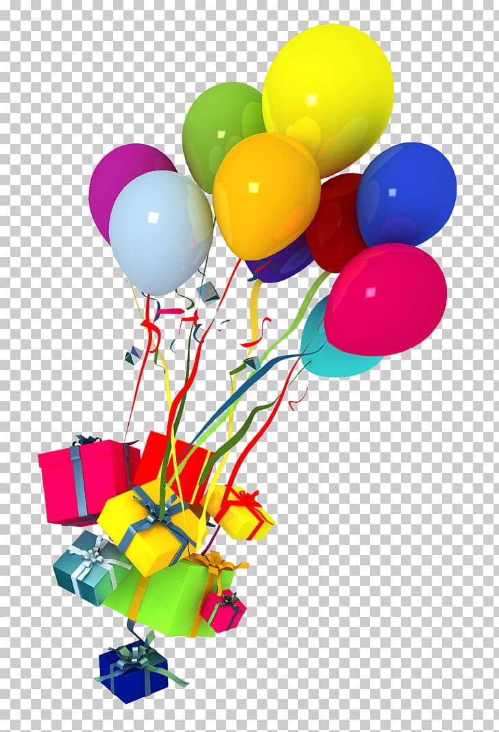 Balloon Birthday, Holiday balloon decoration material PNG.