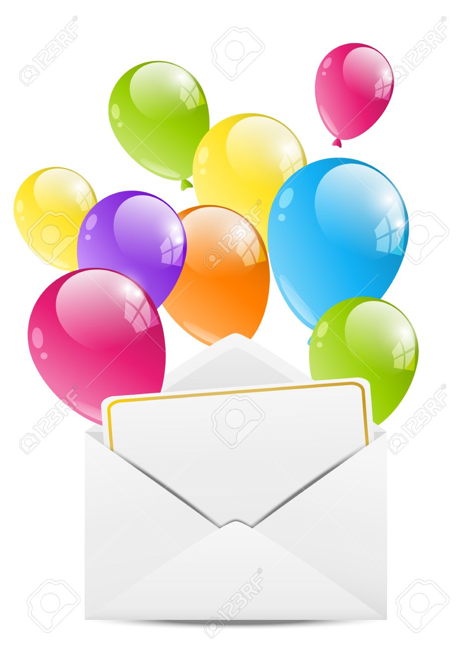Birthday Envelope With Color Balloon Royalty Free Cliparts.