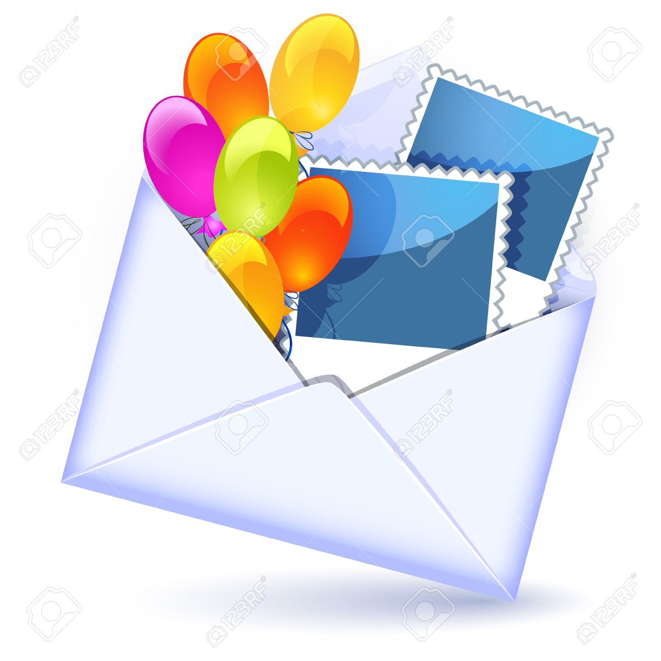 Open Envelope With Colorful Balloons And Photography Royalty Free.