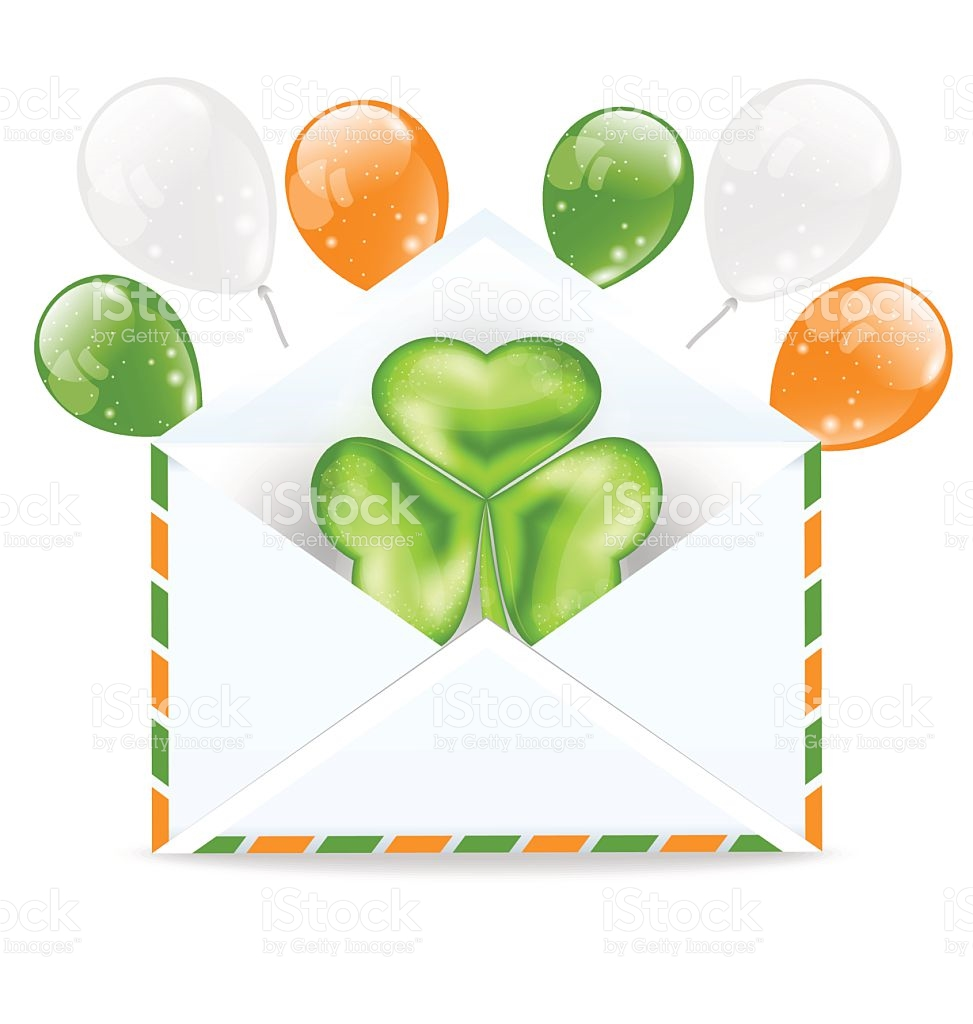 Envelope With Clover And Colorful Ballons Isolated stock vector.