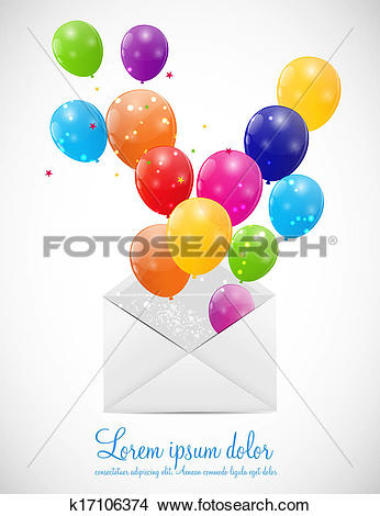 Clipart of Envelope with Balloons Vector Illustration k17106374.