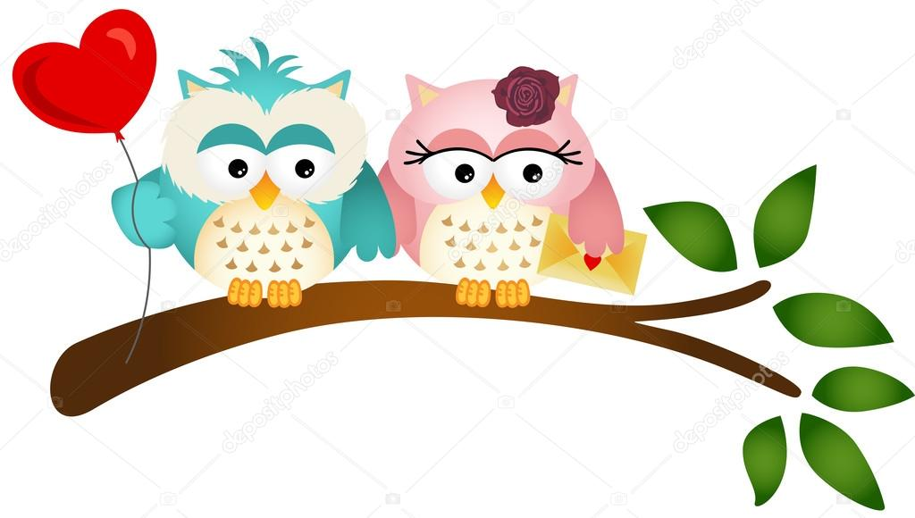 Lovely Owls with Balloon and Envelope — Stock Vector © socris79.