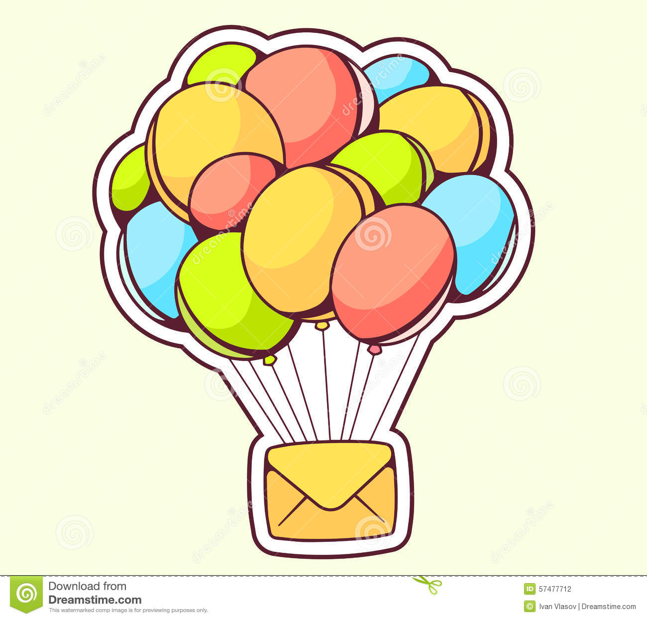 Vector Illustration Of Yellow Envelope Flying On Color Balloons.