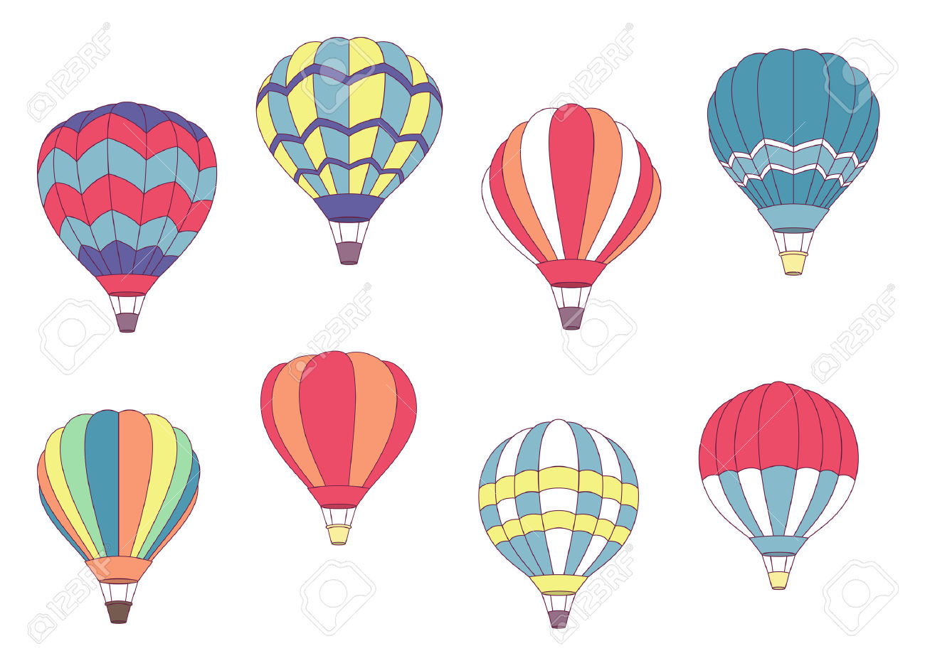 Set Of Colored Hot Air Balloons With Different Patterns On The.