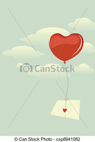 Vector Illustration of Love letter tied to a heart.