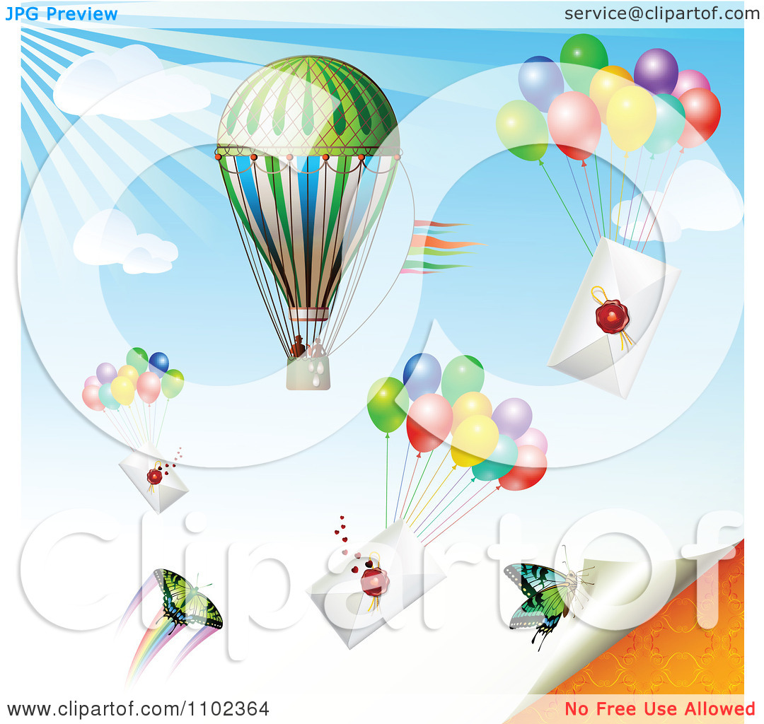 Clipart Hot Air Balloon Butterflies And Balloons With Envelopes.
