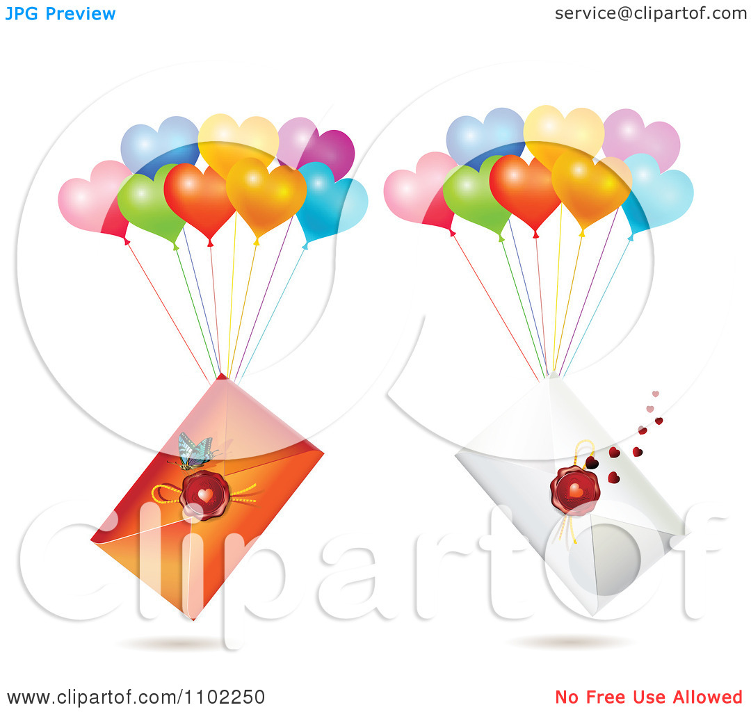 Clipart Wax Sealed Envelopes With Balloons.