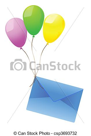 Vector Illustration of Mailing envelope and balloons.