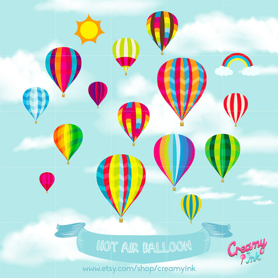 Hot Air Balloon Party Digital Vector Clip art / Hot Air Balloon.