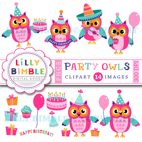 50% off sale Birthday Party Owls clipart, commercial use included.