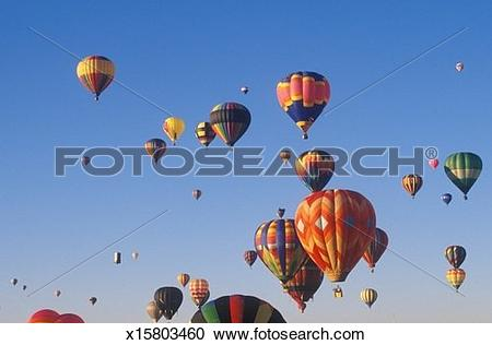 Stock Photography of Balloons take to the air at the Albuquerque.